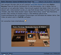 Radio PARALAX Game&Watch Video Review